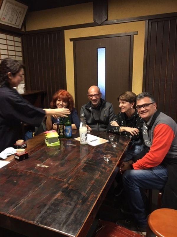Sake tasting at a cozy sake brewery in Nara