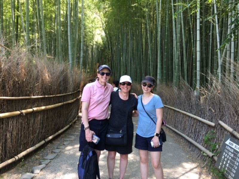 Lovely family at the time-honored Arashiyama Bamboo Forest