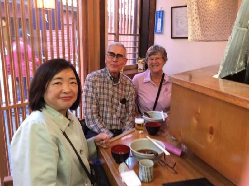 This is me with a lovely couple from Norway. This is their first time trying Japanese buckwheat noodle. We are in a soba restaurant in back of Nakamise Shopping Street in Asakusa. The wife was very interested in traditional Japanese Kimono, because she was working on making a Norwegian costume.