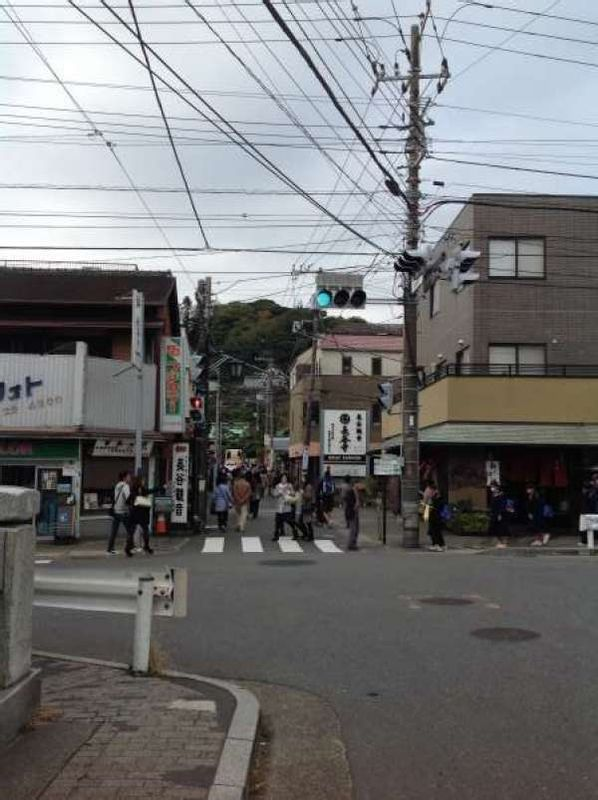 From the street, you can see far-end, the roof of the Hase Temple where Hase Kannon is placed.