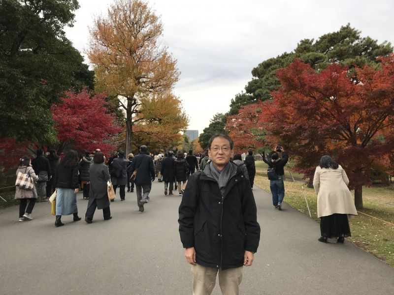 The Imperial Palace with red and yellow leaves.