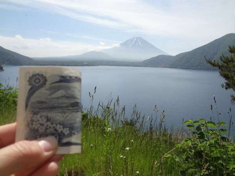 Lake Motosu, where the picture on the backside of 1000yen bill is taken