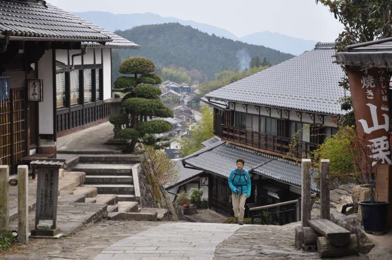 Walking in Magome, an post town alomg the old Kiso road.in Nagano prefecture.