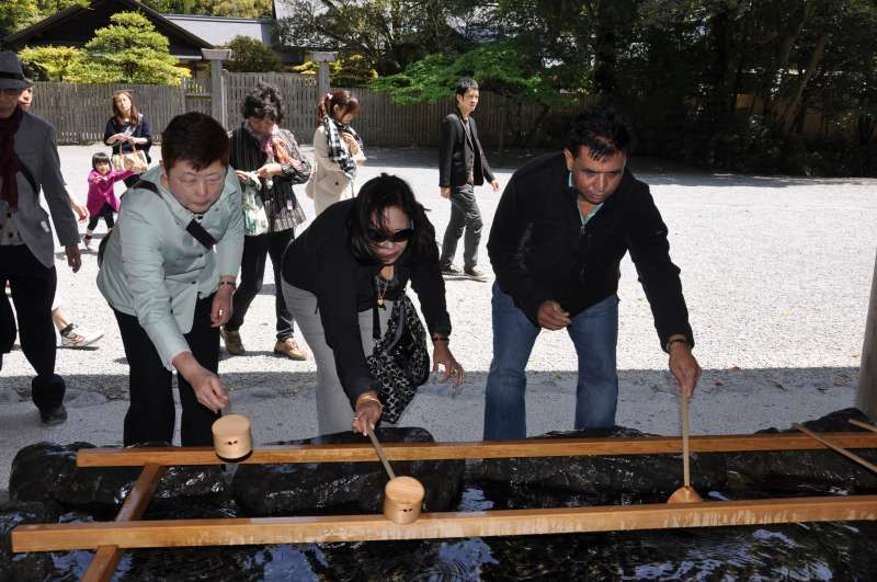 Proceeding ritual purification before worshipping at Ise Grand Shinto Shrine in Mie prefecture.