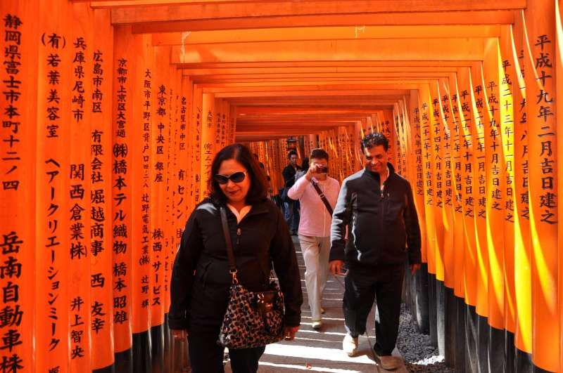 Thousands of vermilion Torii gates lined up along the inner path at Fushimi Inari Grand Shrine in Kyoto.