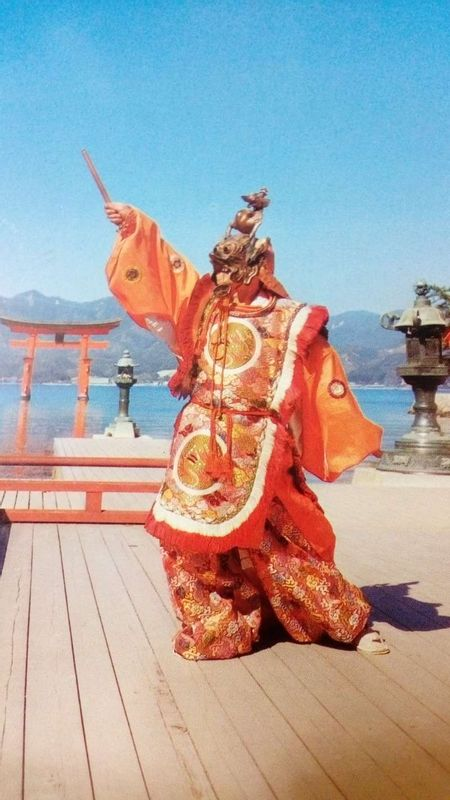 Ancient Japanese court dance, Bugaku, in Miyajima