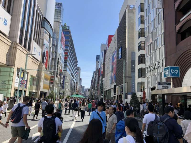 Ginza.The most famous upmarket shopping district.