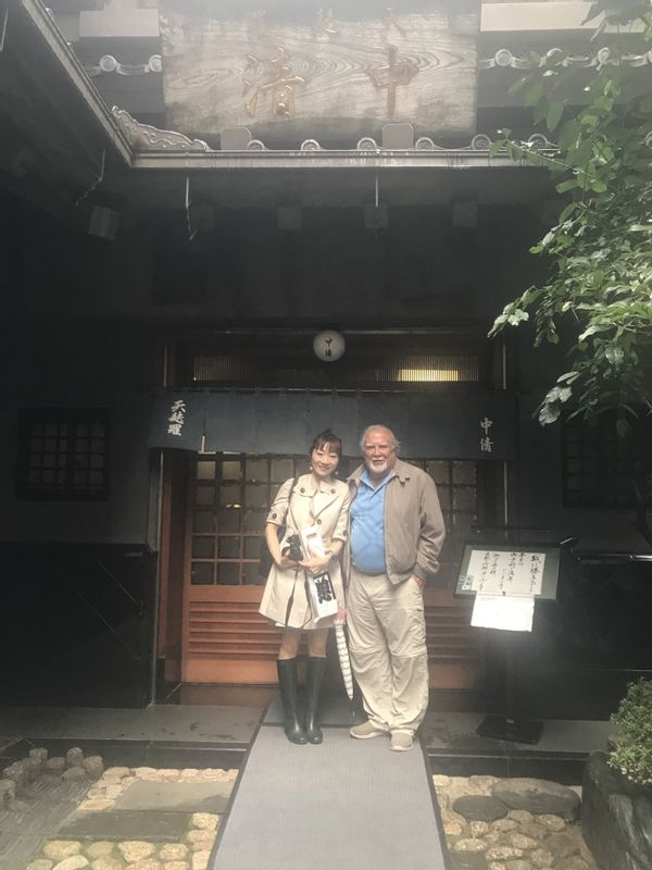 In front of a famous Tempura restaurant with more than a 150 year history.