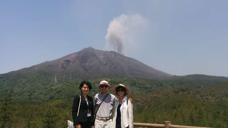 With guests from Hong Kong at Arimura observation deck.