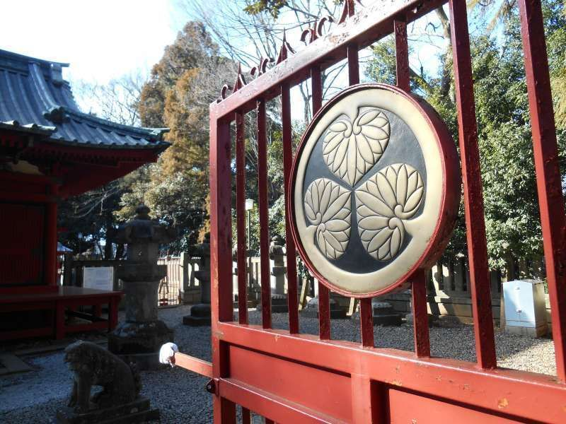 Wild ginger mark, Tokugawa family's crest, on the gate of Semba Tosho-Gu shrine in Kawagoe