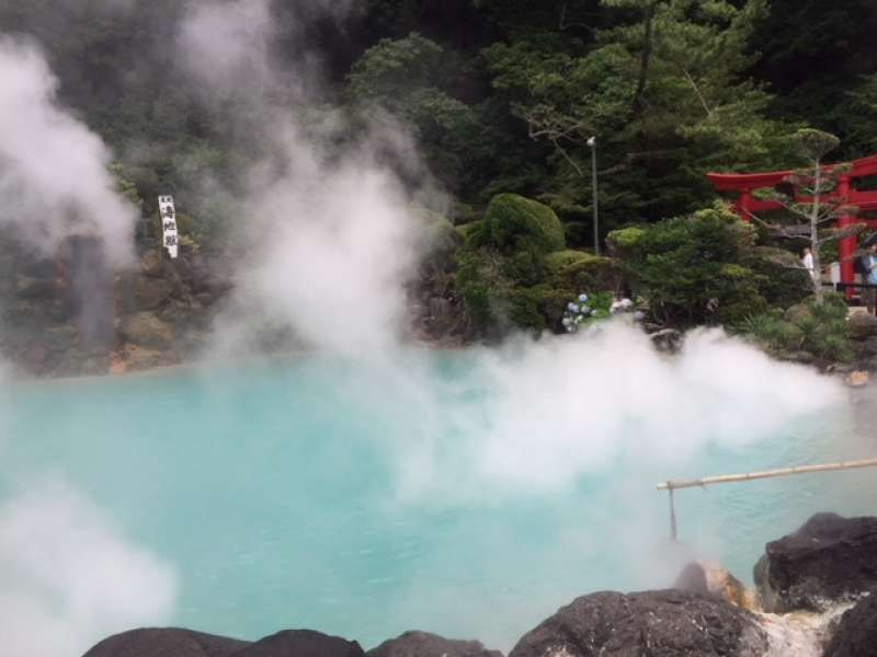 Sea Hell, Umijigoku in Japanese, one of the hot springs. Its color is cobalt blue.