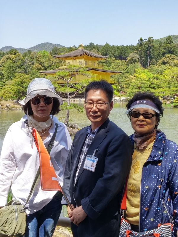 In Kinkakuji(the Golden Pavilion) with My customers who were from Hongkong