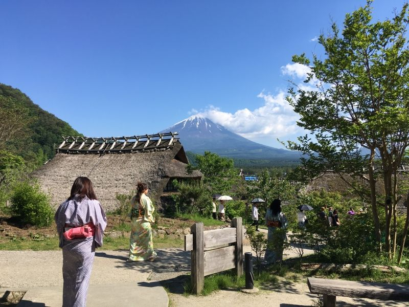 A Japanese village where Mt. Fuji can be seen.