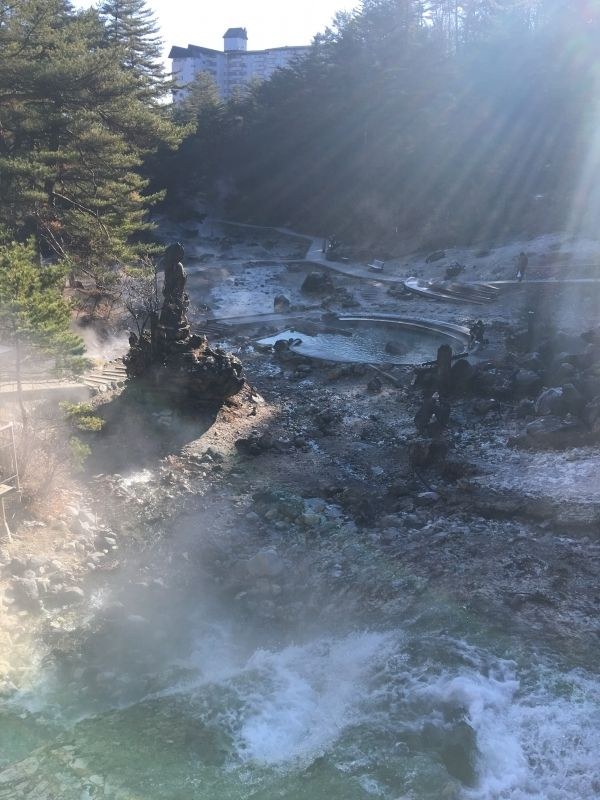 The hot springs flow out like a river at Kusatsu ONSEN.