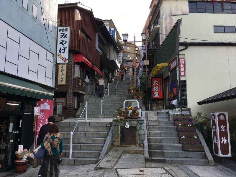The stone steps town of the famous Ikaho hot spring.