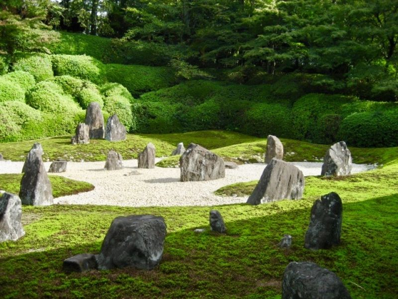 Komyoh-in temple. it's a famous Zen garden with moss plants, stones and rocks.