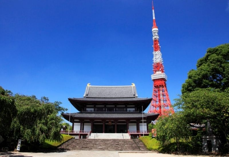 Tokyo Tower & Zojoji Temple  Meets modern & historical architecture
