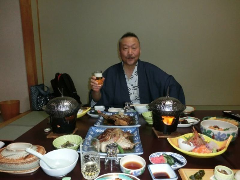 This is a typical Ryokan (Japanese Inn) dinner.  My wife and I have never tried anglerfish cuisine before, so we decided to go to Ooarai in Ibaraki prefecture which is located next to Tochigi prefecture.  We ordered separate dishes such as