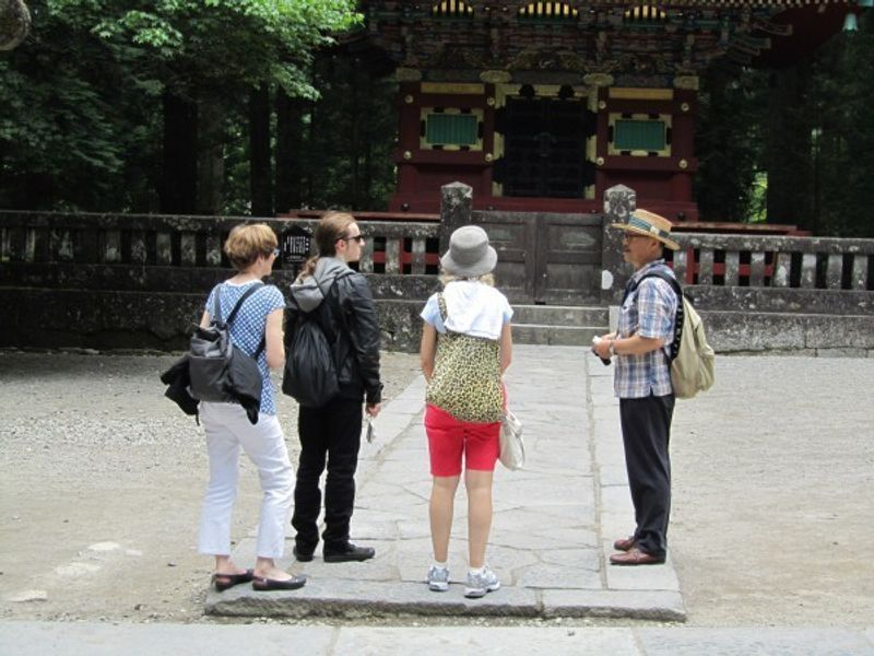 One of my guests took this picture just after I started as a guide.  this was taken in front of five story pagoda in Toshogu shrine.
