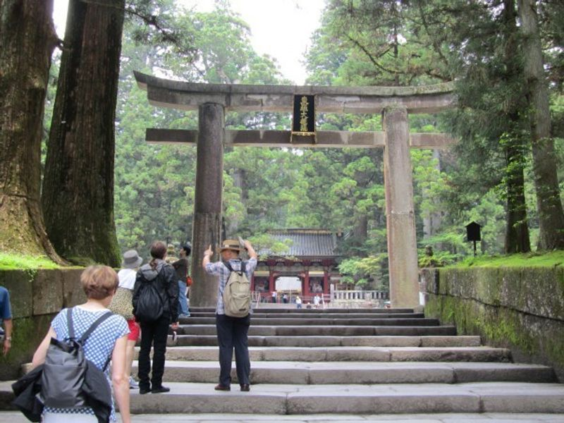 Stone Torii in Toshogu-Shrine.  One of my tour members took this and sent this for me.