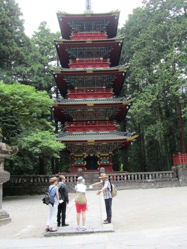 In front of five story pagoda in Toshogu-Shrine.  My first time guiding to Kiwi and German.