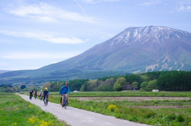Cycling in rural area of Northern Nagano.