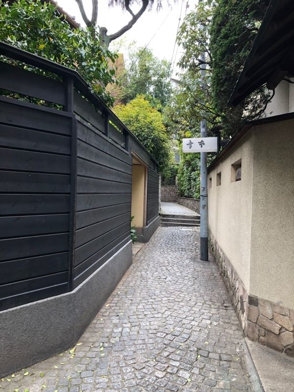 Kagurazaka district in Tokyo. A side street with traditional Japanese restaurants on both sides