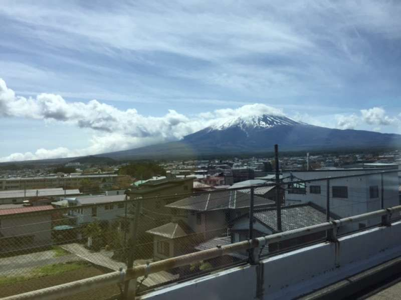 View of Mt. Fuji from the bus on the way to Lake Kawaguchi,one of the five lakes of Mt.Fuji.