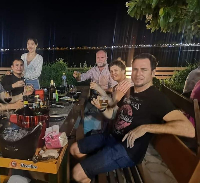 After big tour day, we had dinner at famous restaurant along Mekong river bank with my customers from Australia