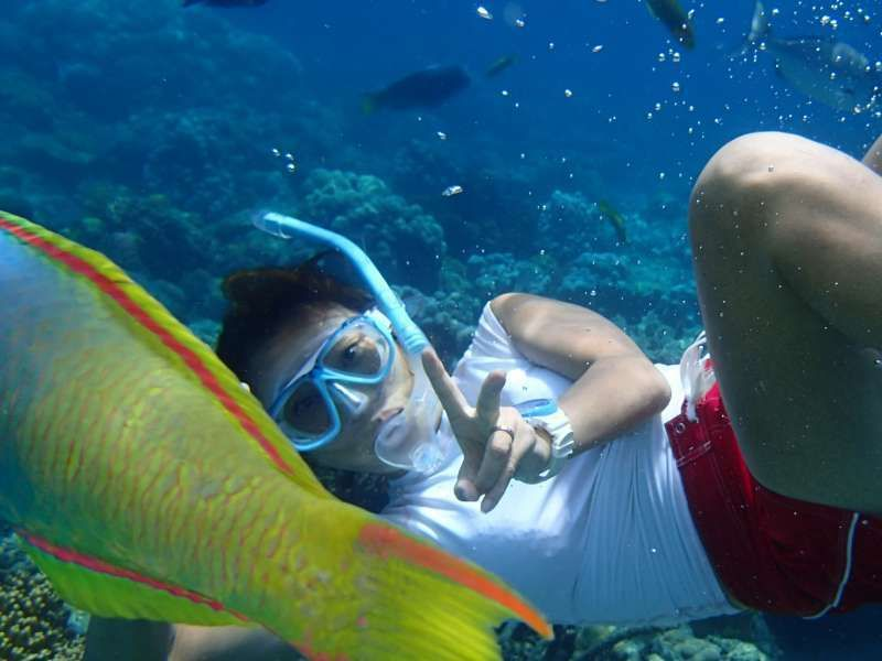 Snorkeling in the sea of Ogasawara Islands, which have become Japan's fourth World Natural Heritage site.