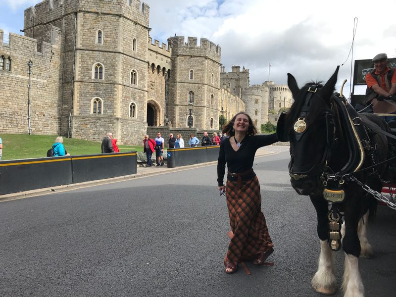 Majestic Windsor Castle and a local brewery horses - delivering the Queen's pint