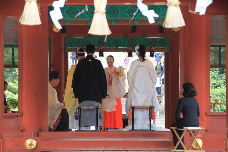 Wedding ceremony at Kamakura Hachimangu shrine, Kamakura, Kanagawa