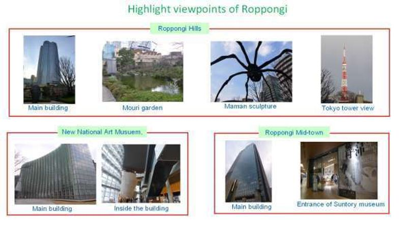 Highlight spots of Roppongi
