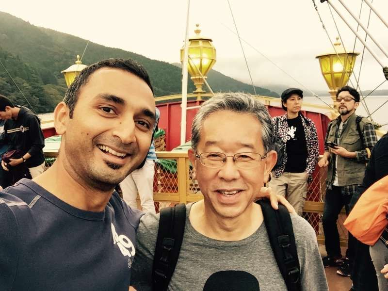 On the pirate ship in the Lake Ashi with the guest from India.