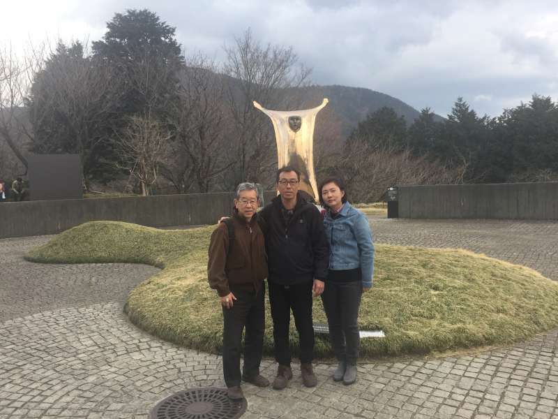 In Hakone Open Air Museum with the Singapore family.