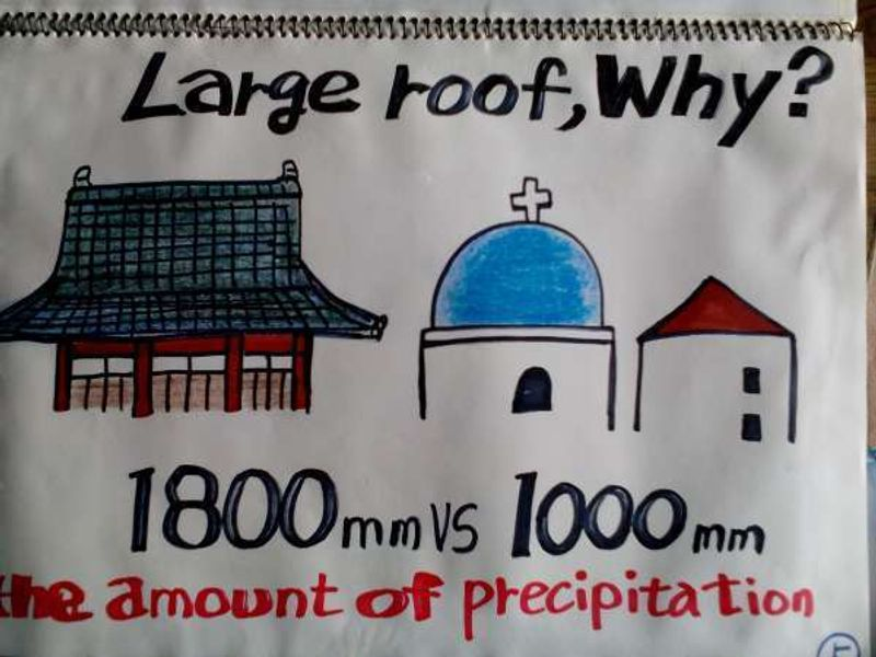 The reason why Japanese temples have such huge roof is because of rain. Precipitation of Japan in a year amounts to 1800 mm vs 1000 mm world average. Some places in Japan receive as much rain as 20,000 mm  in a year. Huge roof protects wooden building from the rain.