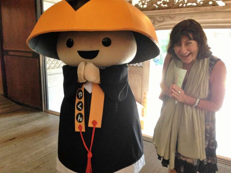 My Australian guest with Koya-kun, the Mascot Character of Mt. Koya