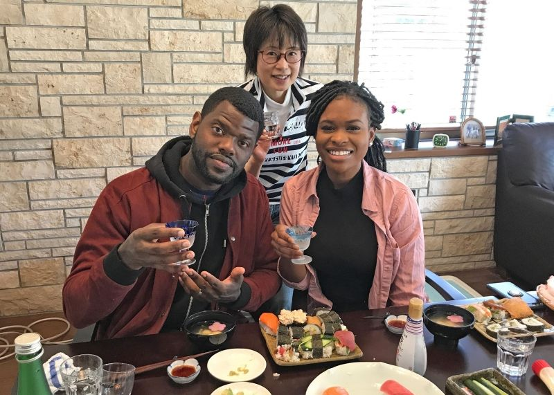 My home stay guests experience Japanese culture.