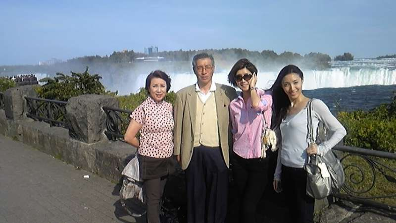 This is a picture of my family who are my wife and two daughters at Niagala Fall in Canada.