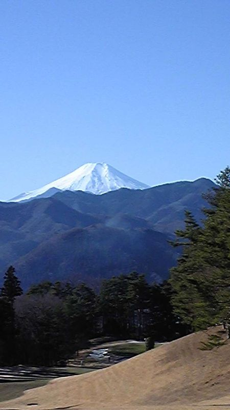 wonderful view of Mt. FUJI on the way to some golf course from the spot in Yamanashi pref.