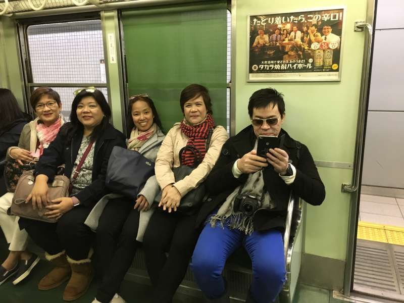on the subway train