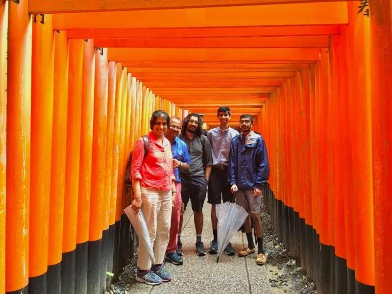 in the Torii Gate tunnel at Fushimi Inari Shrine