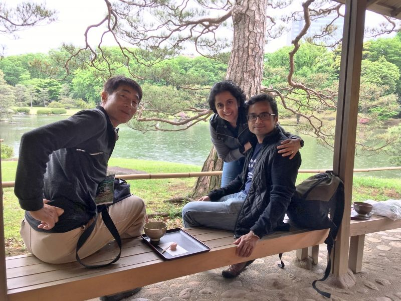 Enjoy Matcha at a Japanese garden with an Indian couple.