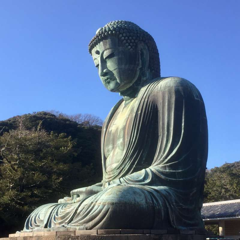 Great Buddha in Kotokuin Temple in Kamakura. He has been sitting in the open air all year round over 500 years.