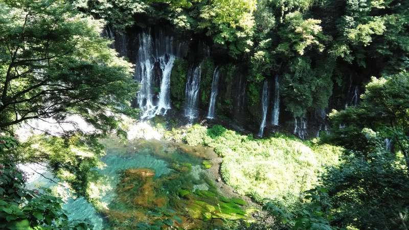 Shiraito Waterfall purifies body and soul of pilgrims climbing Mt. Fuji