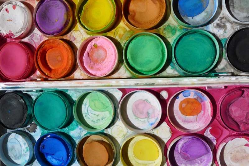 Natural mineral pigments used for modern Japanese-style painting