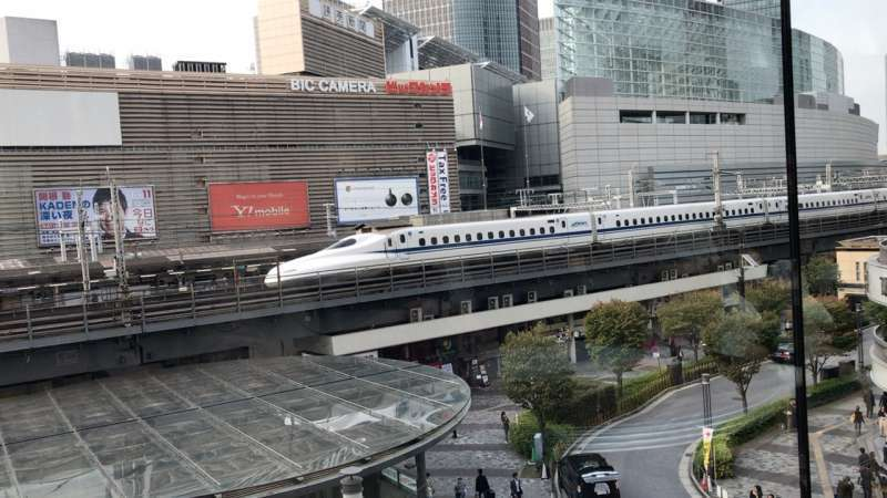 Taking a rest over a cup of coffee and Shinkansen bullet train