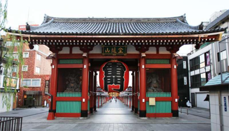 The gate of Senso-ji Temple, famous for its huge red lantern