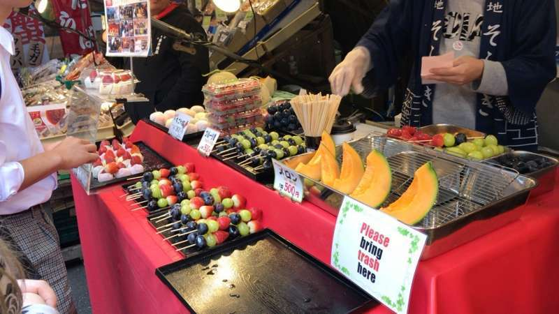 Skewered fruit are also popular.