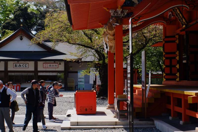 People worshipping at Fujisan Hongu Sengen Taisha Shrine (a UNESCO World Heritage site)